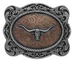 Montana Silversmiths Classic Impressions Longhorn Scalloped Cameo Buckle, , hi-res