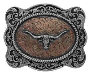 Montana Silversmiths Classic Impressions Longhorn Scalloped Cameo Buckle, Silver, hi-res