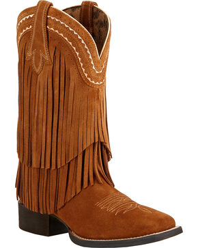Ariat Fringe Cowgirl Boots - Square Toe , Brown, hi-res