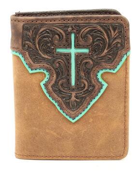 Nocona Bifold Cross Tab Wallet, Tan, hi-res