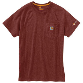Carhartt Force Cotton Short Sleeve Work Shirt - Big & Tall, Dark Red, hi-res