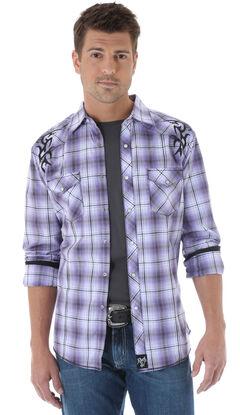 Wrangler Rock 47 Embroidered Purple Plaid Long Sleeve Shirt, , hi-res