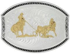 Montana Silversmiths Star Light Team Roper Belt Buckle, , hi-res