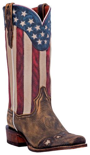 Dan Post Liberty Stars Cowboy Boots - Square Toe, Tan, hi-res