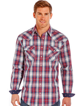 Rough Stock by Panhandle Slim Red Plaid Western Snap Shirt , Multi, hi-res