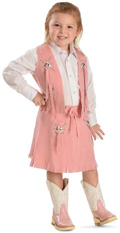 Girls' Pink Faux Suede Vest and Skirt Set, , hi-res