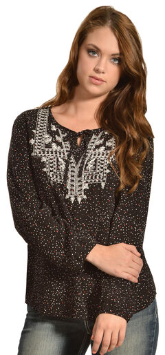 Red Ranch Women's Confetti Embroidered Peasant Top, , hi-res