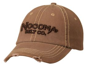 Nocona Distressed Wash Logo Cap, Brown, hi-res