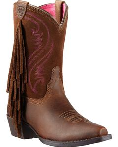 Ariat Youth Girls' Fancy Fringe Cowgirl Boots - Snip Toe, , hi-res