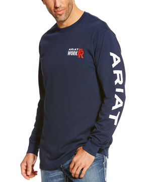 Ariat Men's Navy FR Logo Crew Neck Long Sleeve Shirt, Navy, hi-res