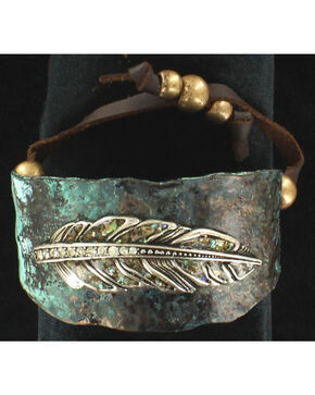 Blazin Roxx Feather Cuff Bracelet, Turquoise, hi-res