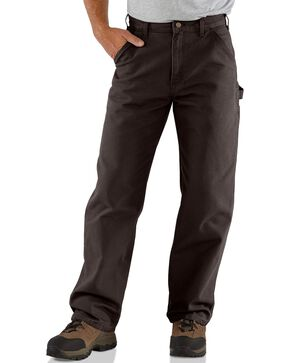 Carhartt Dark Brown Washed Duck Dungaree Work Pants, Dark Brown, hi-res