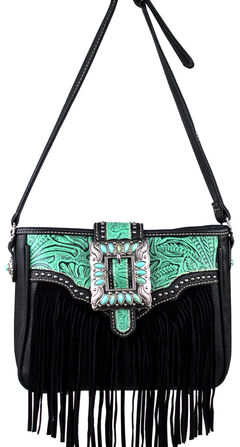 Montana West Turquoise Trinity Ranch Fringe Design Handbag, , hi-res