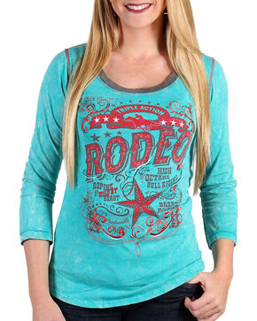 Panhandle Women's Turquoise Triple Action Rodeo Shirt , Turquoise, hi-res