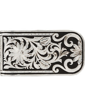 Montana Silversmiths Men's LeatherCut Bitterroot Money Clip, Silver, hi-res