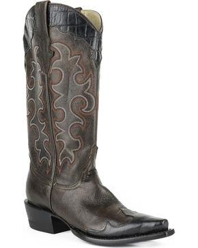 Roper Women's Faux Alligator Wingtip Cowgirl Boots - Snip Toe, Dark Brown, hi-res