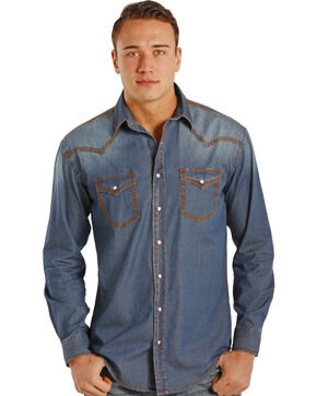 Rough Stock by Panhandle Slim Carderock Chambray Western Snap Shirt , Chambray, hi-res