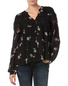 Miss Me Black Lace Floral Button Down Top   , , hi-res