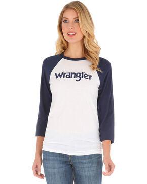 Wrangler Women's Navy Logo Baseball Tee, Navy, hi-res
