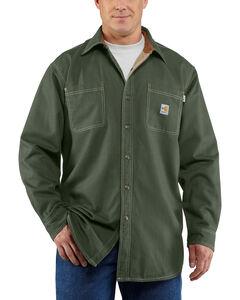 Carhartt Moss Green Flame Resistant Canvas Shirt Jacket, , hi-res