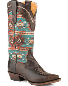 Roper Women's Chelly Aztec Print Cowgirl Boots - Snip Toe, Brown, hi-res