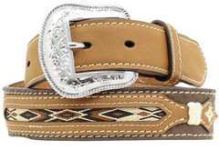 Nocona Kids' Western Woven Inlay Leather Belt, Brown, hi-res