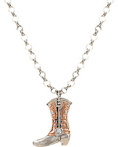 Montana Silversmiths Women's Cowboy Copper Scroll Boot Charm Necklace, , hi-res