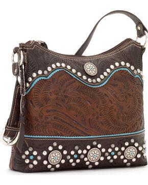 American West Hayloft Collection Zip Top Shoulder Bag, Brown, hi-res