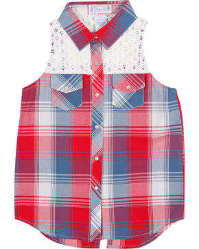 Shyanne Girls' Plaid Crochet Sleeveless Shirt, Multi, hi-res
