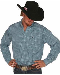 Cinch Men's Plain Weave Teal Box Print Long Sleeve Shirt, , hi-res