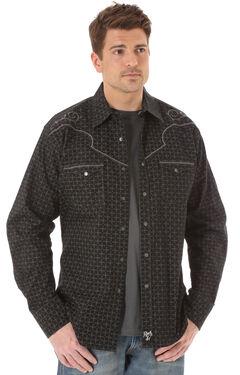 Wrangler Rock 47 Men's Embroidered Yoke Black & Grey Print Shirt, , hi-res