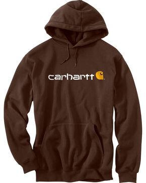 Carhartt Men's Signature Logo Midweight Hooded Sweatshirt - Big & Tall, Dark Brown, hi-res