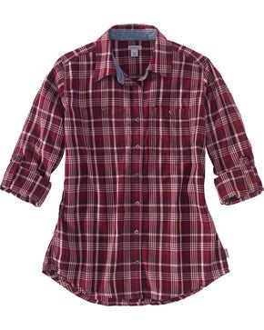 Carhartt Women's Wine Dodson Plaid Shirt , Wine, hi-res