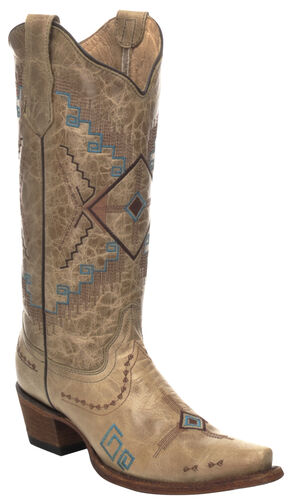 Corral Diamond Embroidered Cowgirl Boots - Snip Toe , Camel, hi-res