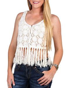 Shyanne Women's Crochet Fringe Vest, , hi-res