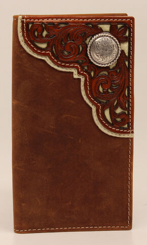 Nocona Rodeo Pieced Overlay Concho Wallet, Med Brown, hi-res