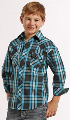 Rock and Roll Cowboy Boys' Ombre Plaid Snap Western Shirt , , hi-res