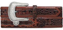 Tony Lama Caiman Print Leather Belt - Reg & Big, , hi-res