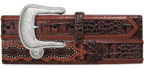 Tony Lama Caiman Print Leather Belt - Reg & Big, Brown, hi-res