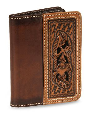 Morning Glory Tooled Leather Wallet, Brown, hi-res
