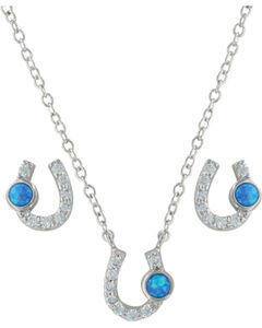 Montana Silversmiths Women's Silver Lightfoot Horseshoe Jewelry Set , , hi-res
