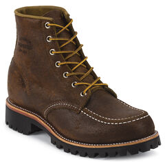 """Chippewa Men's 6"""" Lace-Up Brown Suede Field Boots - Moc Toe, , hi-res"""