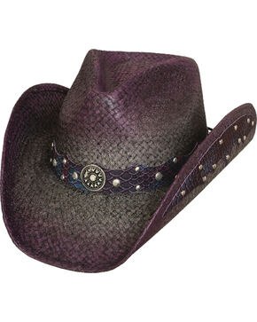 Bullhide Hats Where Are You Straw Cowboy Hat, Wine, hi-res
