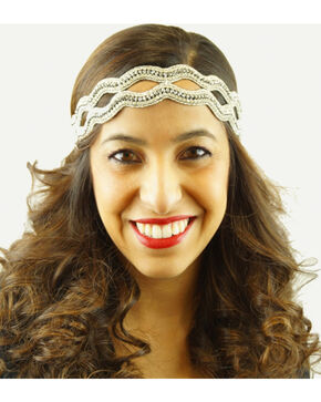 Pink Pewter Silver Hand Beaded Chanel Stretch Headband, Silver, hi-res