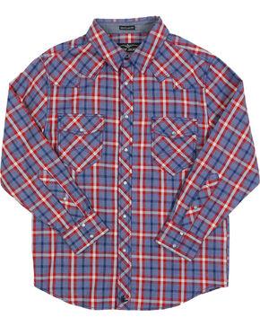 Cody James Boys' Plaid Long Sleeve Western Shirt, Red, hi-res