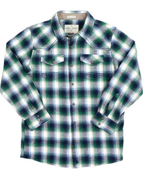 Cody James Boys' Plaid Long Sleeve Flannel, Green, hi-res