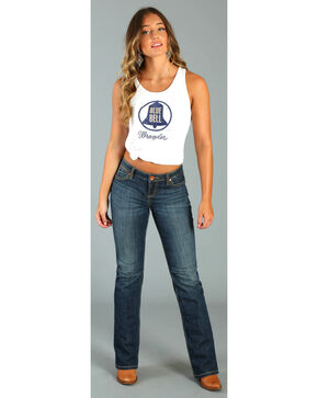 Wrangler Women's White Blue Bell Logo Tank Top , White, hi-res