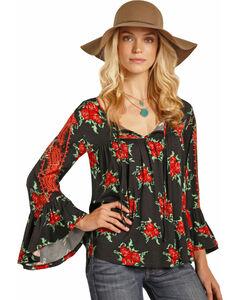 Rock & Roll Cowgirl Women's Black Rose Print Top , , hi-res
