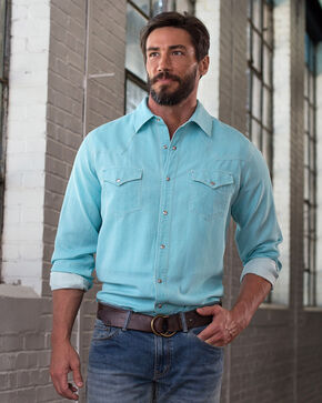 Ryan Michael Men's Waffle Texture 4-Needle Shirt, Sky, hi-res
