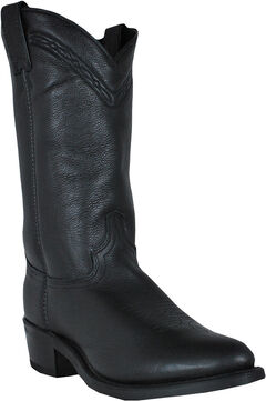 Abilene Boots Men's Black Waxed Cowhide Western Boots - Medium Toe, , hi-res